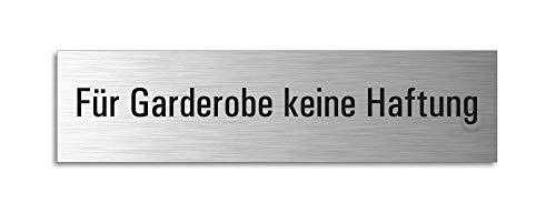 Türschild - Für Garderobe keine Haftung Aluminiumschild Edelstahl-Optik 160 x 40 mm selbstklebend Ofform Design