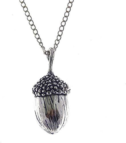 NC520 1 Unidad de Collar con Colgante de Nuez de Roble de Bellota de Color Plata Antigua, joyería Larga de Moda para Mujer, Cadena de eslabones de Metal de 80 cm
