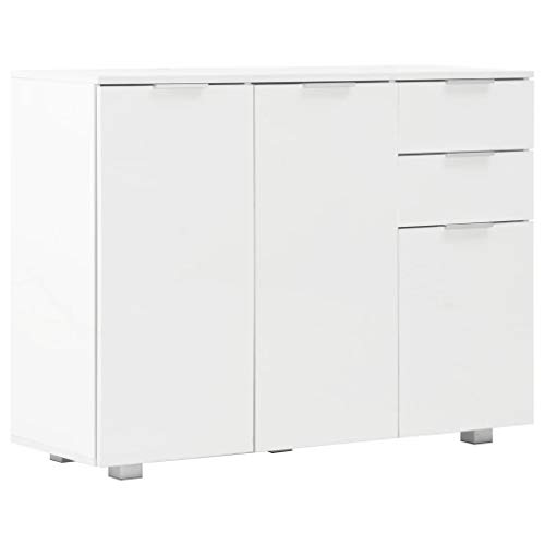 vidaXL Aparador 107x35x76 cm Hogar Casa Muebles Mobiliario Elegante Decoración Interior Diseño Estilo Almacenaje Blanco Brillante