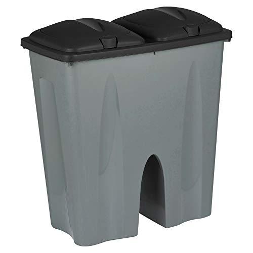 URBNLIVING Black Double Recycling Waste Duo Bin Plastic Rubbish Disposal Cardboard 2 x 25 Litre