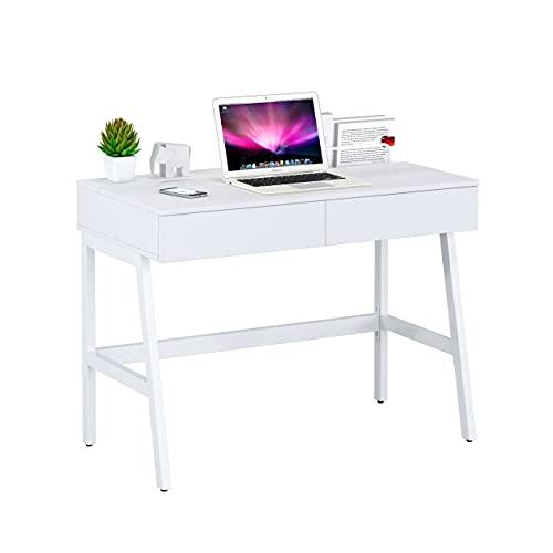 Ofichairs Mesa de Escritorio Gloss Mesa para odenador cajones lacada Color Blanco