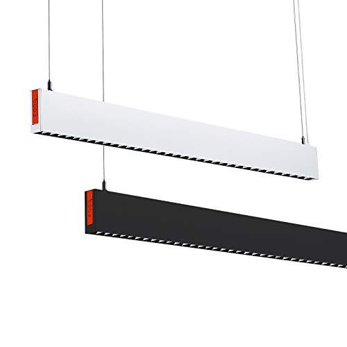 FOOC LED Pendelleuchte 25w 2000lm 107cm I Höhenverstellbar I Warmweißes Licht I Keine Blendung I Energiesparlampe I Verwendet in Wohnzimmer, Esszimmer und Büro (Schwarz)
