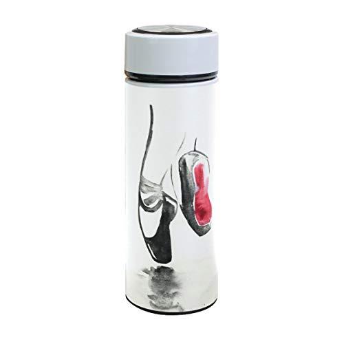 ZZKKO Ballet Dance Shoes Botella de agua de acero inoxidable de doble pared con aislamiento al vacío vaso taza de viaje 500 ml