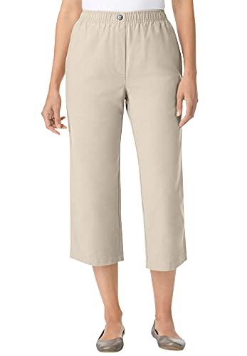 Woman Within Women's Plus Size Elastic-Waist Cotton Capri Pants - 20 W, Natural Khaki Beige