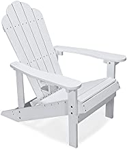 Petybety Adirondack Chair with Cup Holder, Plastic Fade-Resistant Lounge Chairs Weather Resistant with 450lbs Duty Rating, All-Weather Outdoor Chair for Fire Pit, Patio, Garden, White