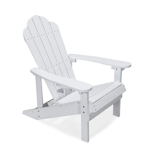 Adirondack Stuhl Gartenstuhl mit Breiten Armlehnen 200KG Westport-Chair für Garten, Terrasse und Balkon, Terrasse (Weiß)