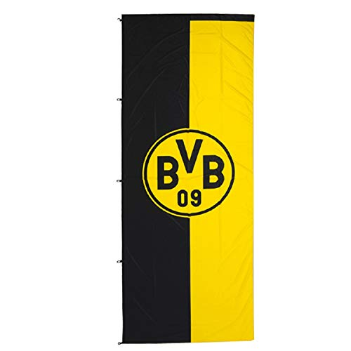 Borussia Dortmund Hissfahne - Hochformat - Fahne Logo (100 x 200 cm) Flagge BVB 09 - Plus Lesezeichen I Love Dortmund