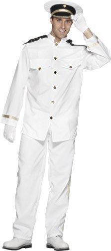 Smiffys Costume de capitaine, blanc, avec veste, pantalon, casquette et gants - L