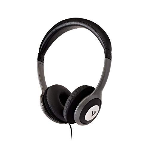 V7 HA520-2EP - Kopfhörer (Ohraufliegend, Kopfband, Verkabelt, 20-20000 Hz, 1,8 m, Schwarz, Silber)