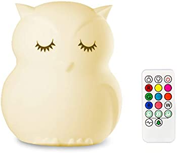 Mothermed Owl Night Light for Kids with Touch Sensor Remote Control