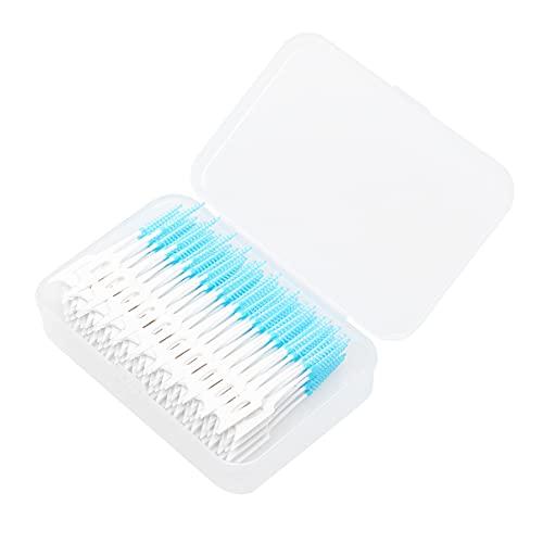 DOITOOL 160 cepillos interdentales para soporte portátil de doble cabeza de uso individual suave de silicona para dientes (azul)