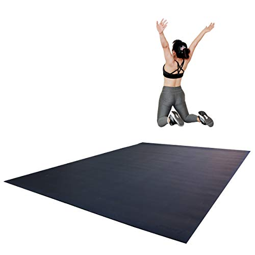 """RevTime Extra Large Exercise Mat 8 x 6 feet (96"""" x 72"""" x 1/4""""+) 7 mm Thick & High Density Mat for Home Cardio and Yoga Workouts, Durable Gym Mat, Black"""