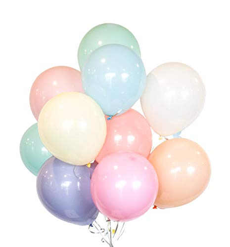 HomyBasic 12 in Assorted Pastel Color Balloons for Birthday Parties ( Pack of 100 with 50M Ribbon )