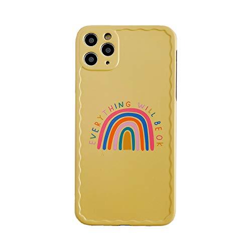 DEIOKL Estuche para teléfono con Pulsera arcoíris para iPhone 12 Mini 11 Pro MAX X XS XR 7 8 Plus Carcasa Trasera IMD Suave con Cadena Colorida Amarilla, b, para iPhone 12