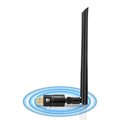 Adaptador WiFi USB 1200Mbps,Adaptador WiFi Doble Banda 5GHz/2.4GHz USB 3.0 Alta Ganancia Adaptador Inalámbrico Compatible con Windows Mac Linux