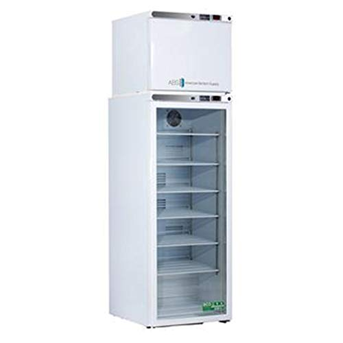 American BioTech Supply ABT-HC-RFC7 Premier Combination Refrigerator/Freezer, 1 Glass/1 Solid Door, 7 cu. ft. Capacity, White