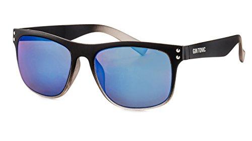 GIN TONIC Eckige Herren Sonnenbrille/Leichte Sonnenbrille mit verspiegelten Gläsern im sportlichen Design (Schwarz-Grau, Blau)