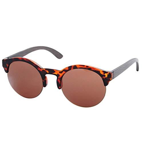 QYV Gafas de Sol de bambú Redondas Semi sin Montura Hombres Mujeres Gafas de Madera Lente de Espejo Retro,LeopardBrown