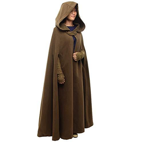 GRACEART Women's Hoodie Woolen Cape Cloak Long Dark Khaki