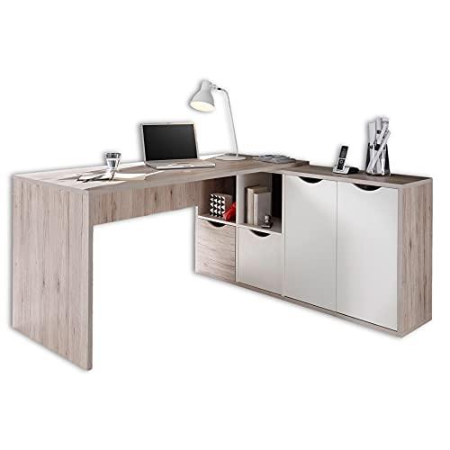 Stella Trading QUADRO Eckschreibtisch in Sandeiche Optik, Weiß - Moderner Bürotisch Computertisch mit großer Arbeitsfläche und Stauraum - 160 x 77 x 145 cm (B/H/T)