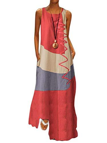 Minetom Donna Estivo Abito Eleganti Senza Maniche Blocco di Colore Abiti Lunghi Casuale Maxi Vestito Taglie Forti da Cocktail Banchetto Sera con Tasche B Rosso 44