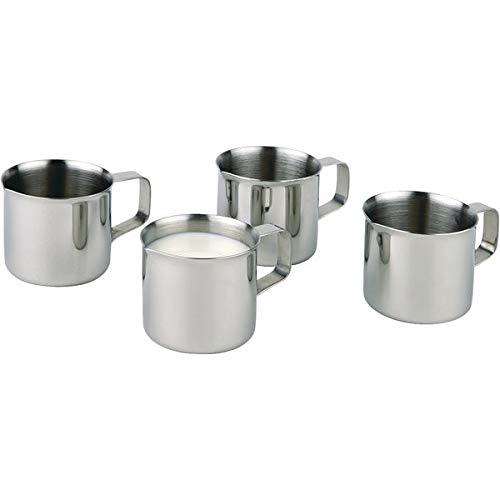 APS 10321 Set mit 4 Hochglanzpolierten Edelstahl Milch / Sahne Krügen, mit Griffen, Ø 3,5 x 3,5 cm, 0,02 ltr