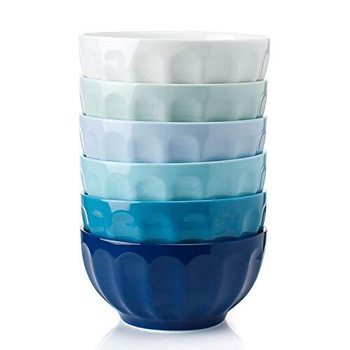 Sweese 106.003 Suppenschalen 6er Set aus Porzellan, Durchmesser 15,0 cm, Füllmenge 750 ml, Müslischale, Salatschüssel, Suppenschale, Blaue Serie