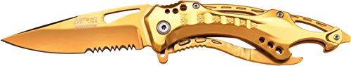 MTech USA Taschenmesser MT-A705 Serie, Messer ALU KOMBI AUFSATZ Griff, Gold Design, scharfes Jagdmesser, Outdoormesser 9-9,53 cm ROSTFREI Klinge, Klappmesser für Angeln/ Jagd, Überlebensmesser