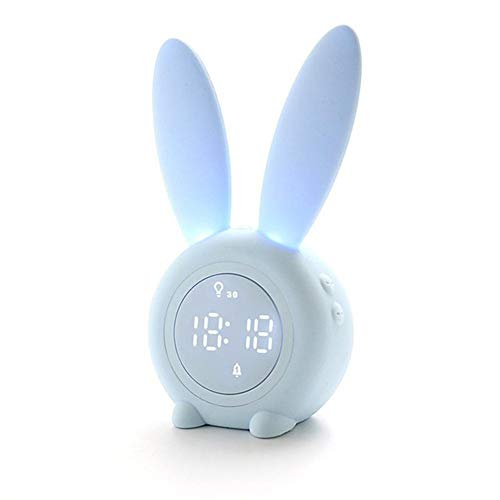 JSX LED Intelligence wekker, slaapformaat, oplaadbaar, nachtlampje met 6 stemen, controle met slaap-timer, digitale thermometer