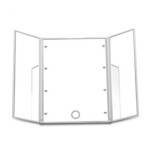 Dproptel Faltbar Make-up-Spiegel mit LED Kosmetikspiegel Beleuchtung Standspiegel Schminkspiegel Tischspiegel Weiss