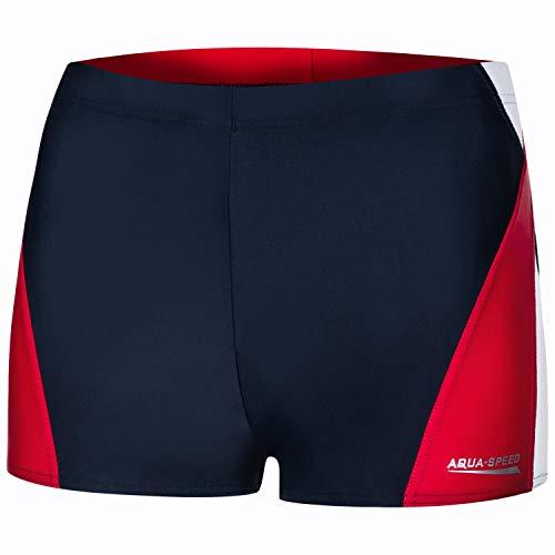 Aqua Speed Enge Kurze Badehosen Herren + gratis eBook | Mens Swimwear | Kastenbadehose | Badebekleidung | Badepants | Alex, Gr. L, 456 Navy White red