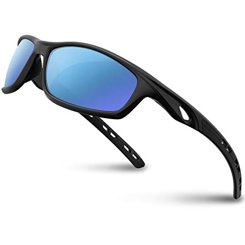 RIVBOS Polarized Sports Sunglasses Driving Sun Glasses shades for Men Women Tr 90 Unbreakable Frame for Cycling Baseball Running Rb833 (833-Black Ice Blue Lens)