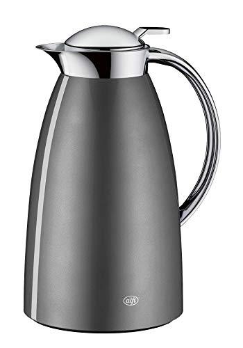 alfi Thermoskanne Gusto, Edelstahl grau 1L, alfiDur Glaseinsatz, auslaufsicher, Isolierkanne hält 12 Stunden heiß, 3561.218.100 ideal als Kaffeekanne oder als Teekanne, Kanne für 8 Tassen