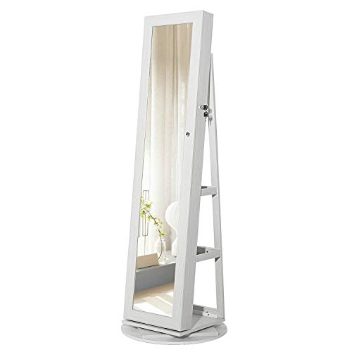 SONGMICS Schmuckschrank, Spiegelschrank, um 360° drehbar, abschließbar, 3-in-1, Schmuckaufbewahrung, mit Spiegel, Ablagen, Schloss, modern, weiß mit Holzmaserung JBC62W