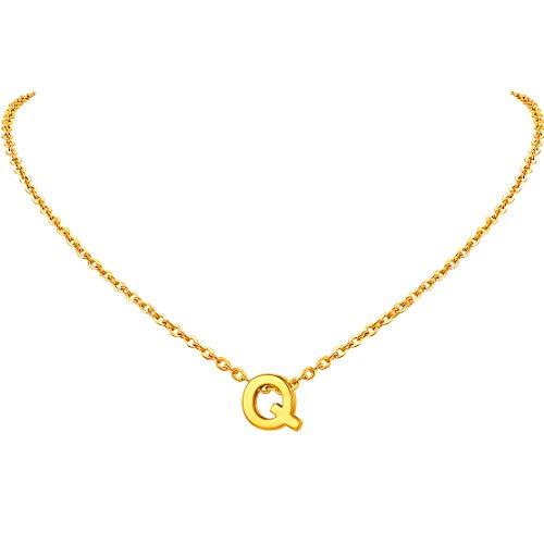 FindChic イニシャルネックレスQ レディース ペンダントトップ 18金 18k ゴールド 真鍮 小さめ 鏡面 シンプル 大人可愛い 女性 プレゼント