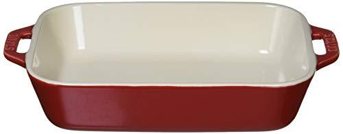 staub ストウブ 「 レクタンギュラー ディッシュ チェリー 20×16cm 」 セラミック グラタン皿 オーブン 電...