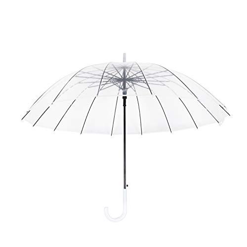Lancoon Transparenter Regenschirm,Kuppelschirme für Frauen,mit praktischem Öffnungsmechanismus und ergonomischem Griff PVC Glasfaser
