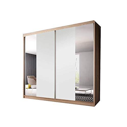 E-MEUBLES Armoire de Chambre avec 2 Portes coulissantes | Penderie (tringles) avec étagères (LxHxP): 233x218x61 Ben 38 (Sonoma Blanc Mat+Miroir)