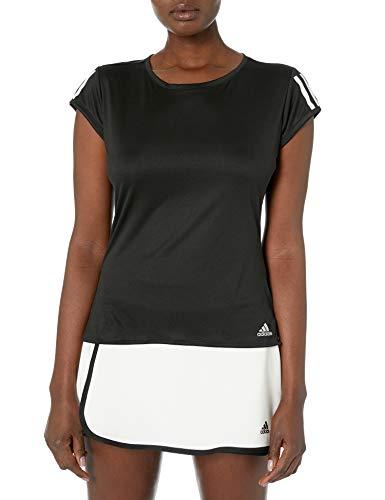 adidas Damen Club 3-Streifen Tennis Tee, Damen, Hemd, Club 3 STR Tee, Schwarz/mattsilber/weiß, Small