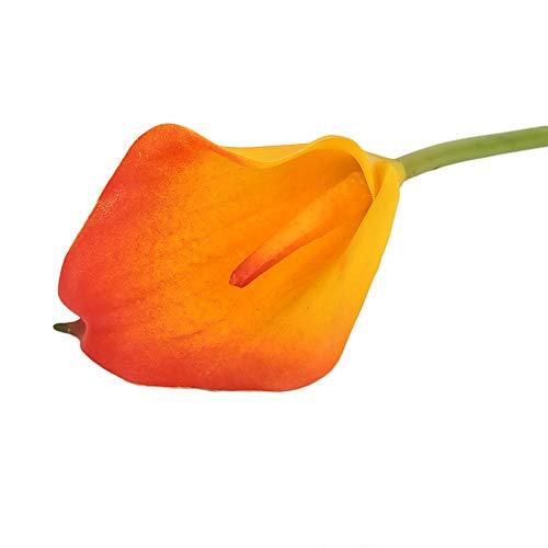 JUNMAONO Lirio/Lirio/Lirios de Agua de Cala Flor Artificial Plantas Floral Artificial Calidad látex Ramo de Flores Sensación Real Ramo Decoración Boda Hogar Elegante 1 Ramo 33CM