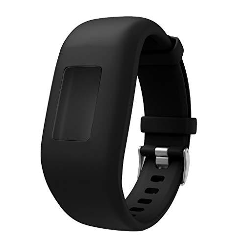 Uhrenarmbänder für Garmin Vivofit 3 /Vivofit JR/Vivofit JR 2 Armband, Silikon Atmungsaktiv Replacement Uhrenarmband Sportarmband Band Erstatzband mit Schließe Bands Armband Band (Schwarz)