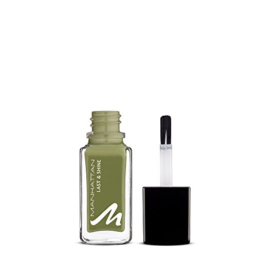 Manhattan Last & Shine Nagellack – Grasgrüner, glänzender Nail Polish für 10 Tage perfekten Halt – Farbe Urban Chameleon 845 – 1 x 10ml
