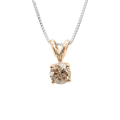 Dazzlingrock Collection 0.25 Carat (ctw) 14K Round Champagne Diamond Ladies Solitaire Pendant 1/4 CT, Rose Gold