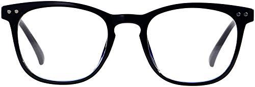FLOUCO Unisex Blaulichtfilter Brille, UV-Kopfschmerz Brille [Verringerung der Augenbelastung] Blendschutzbeschichtung mit blaulichtfilter, Superleichte Materialien TR90 Vollrandbrille- Schwarz