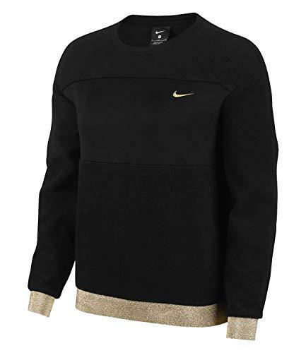 Nike Damen Pro Icon Clash Them Fleece Crew Sweatshirt T-Shirt, Schwarz (Black/Metallic Gold), (Herstellergröße: Small)