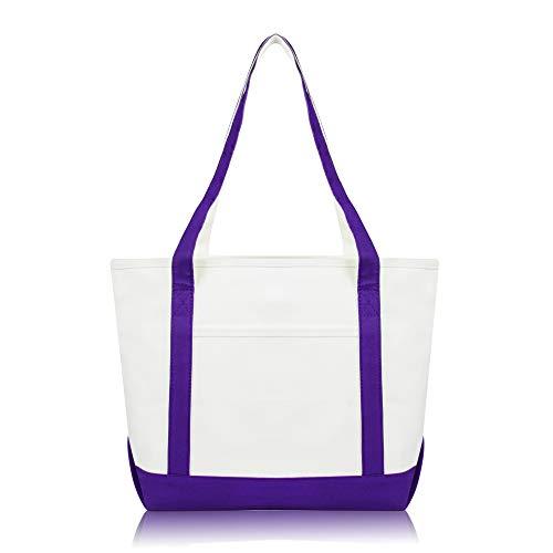 DALIX Daily Shoulder Tote Bag Premium Cotton in Purple