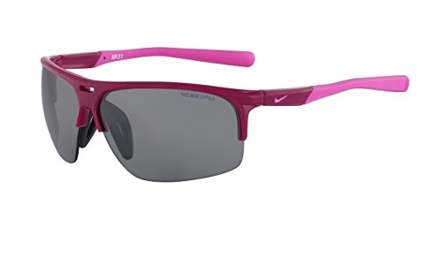 Nike Grey with Silver Flash Lens Run X2 S Sunglasses, Bright Magenta/Red Violet by Nike