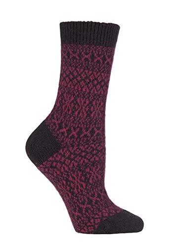 Damen 1 Paar Panther Glauben Winter-Fairisle 85prozent Kaschmir-Socken (36-41, Schokolade)