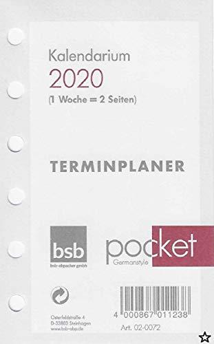 bsb Kalendereinlage Pocket A7 2020 1 Woche auf 2 Seiten