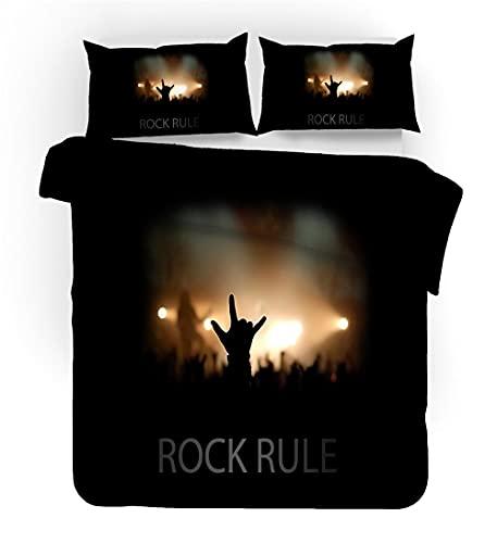 WEKUW Juego de sábanas cómodas y Suaves Juego de Ropa de Cama con,La música Rock 100% poliéster,antialérgico,Anti decoloración,200x200 cm impresión HD para Todo el Mundo